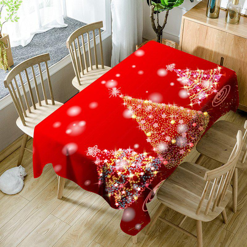 Neon Christmas Trees Pattern Waterproof Fabric Table Cloth - RED W54 INCH * L54 INCH