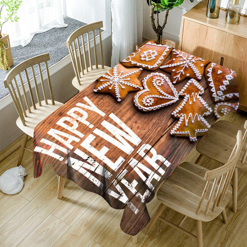 Wood Grain Christmas Ornaments Biscuit Pattern Waterproof Table Cloth - WOOD COLOR W60 INCH * L84 INCH