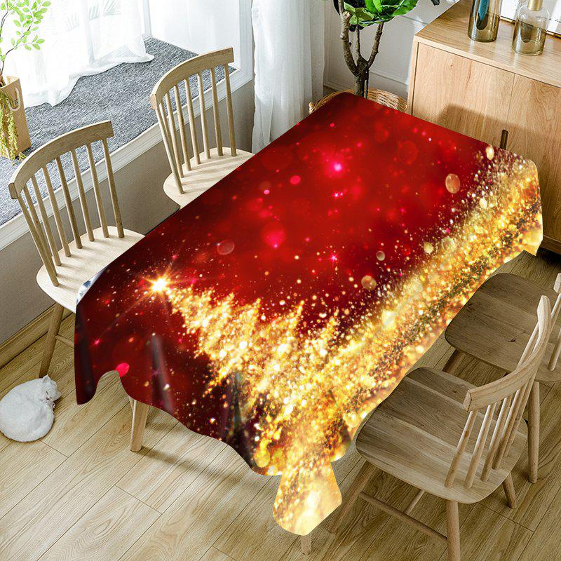 Nappe de Table Imperméable Imprimé Sapin de Noël Doré Abstrait - Rouge / Golden W54 INCH * L54 INCH