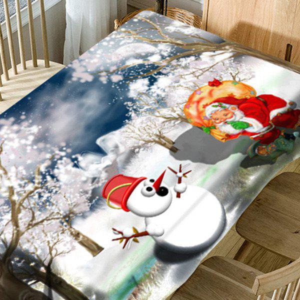 Santa Claus Christmas Snowman Snowscape Print Waterproof Table Cloth - WHITE W60 INCH * L84 INCH