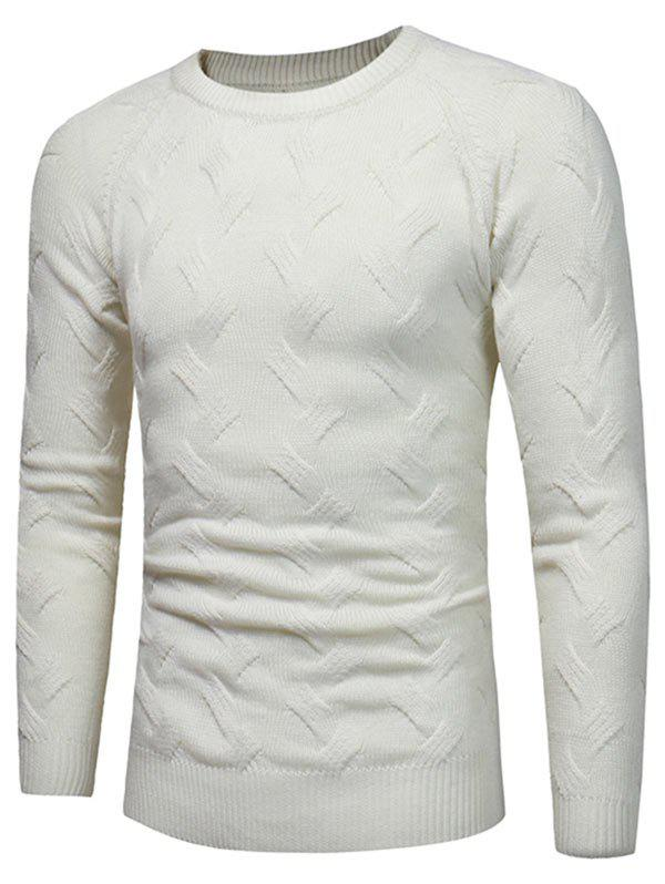 Crew Neck Raglan Sleeve Pullover Sweater - WHITE L