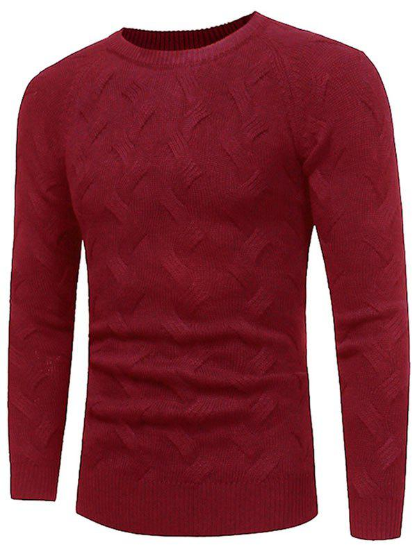 Crew Neck Raglan Sleeve Pullover Sweater - WINE RED XL