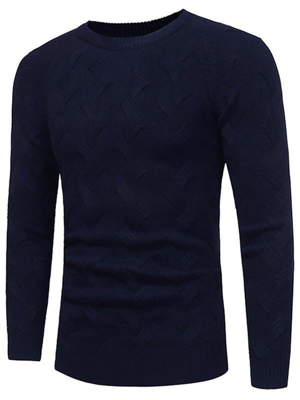 Crew Neck Raglan Sleeve Pullover Sweater - PURPLISH BLUE 3XL