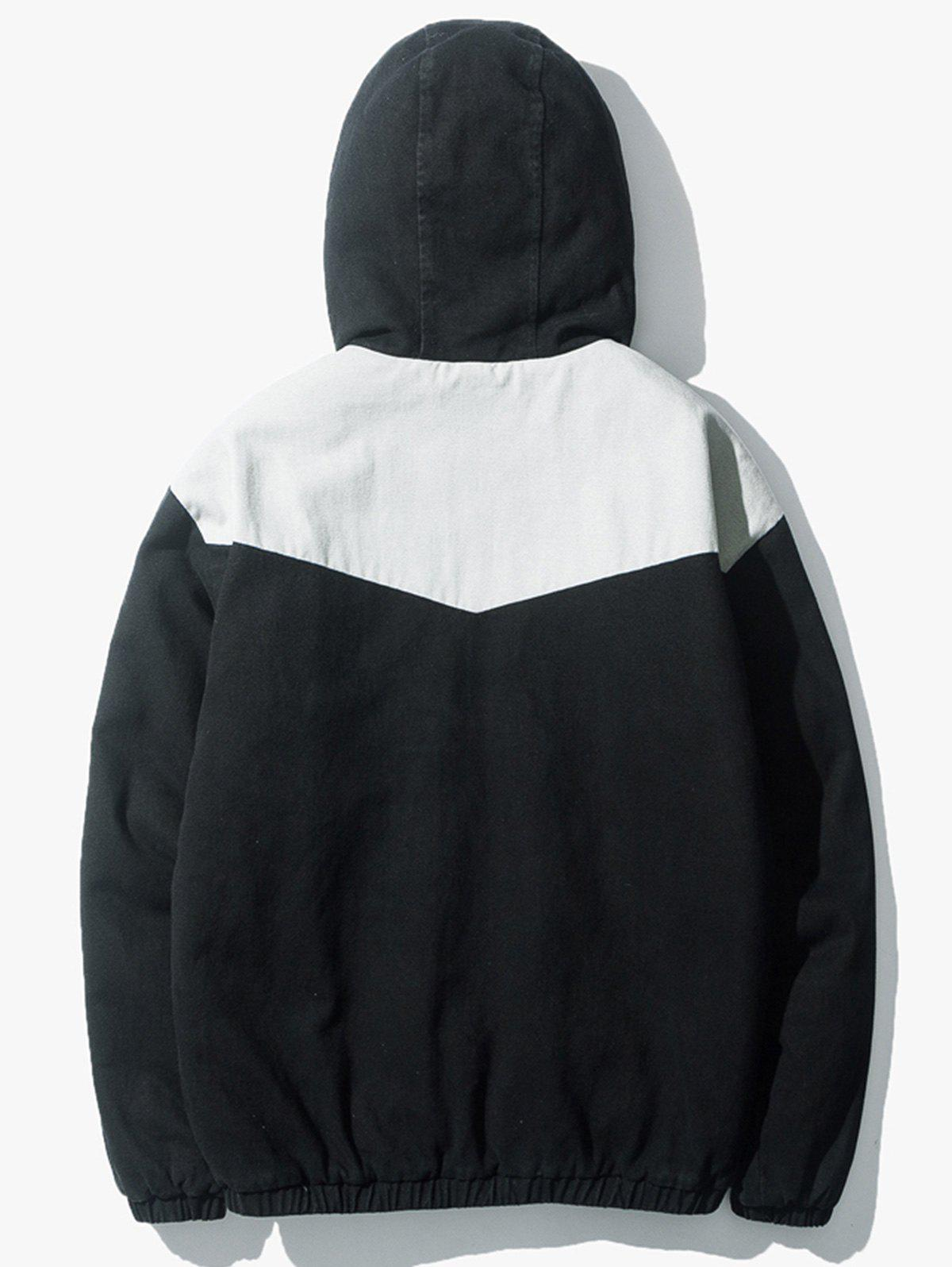 Embroidered Color Block Padded Zip Up Jacket - BLACK M