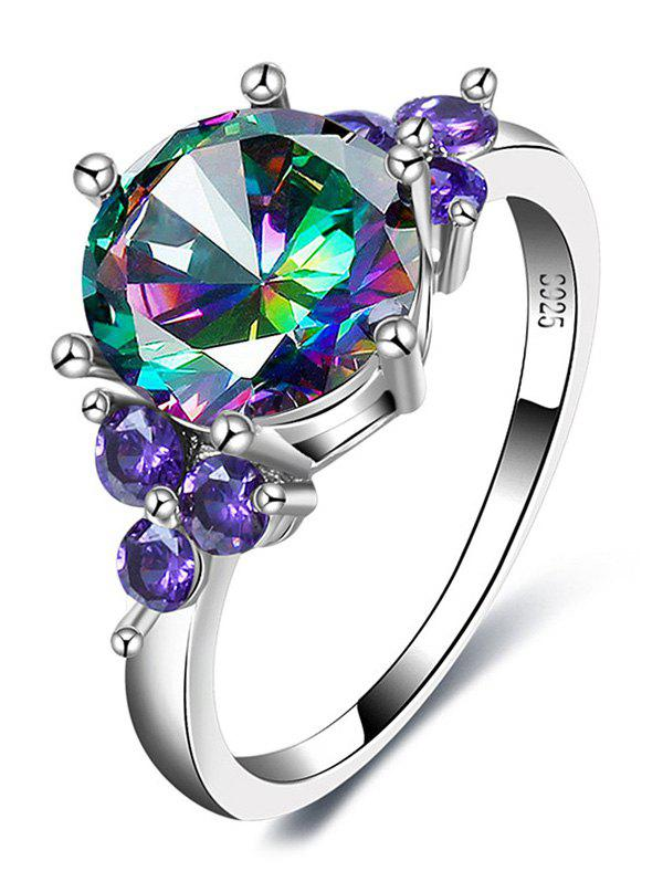 Faux Amethyst Gem Round Finger Ring - SILVER 8