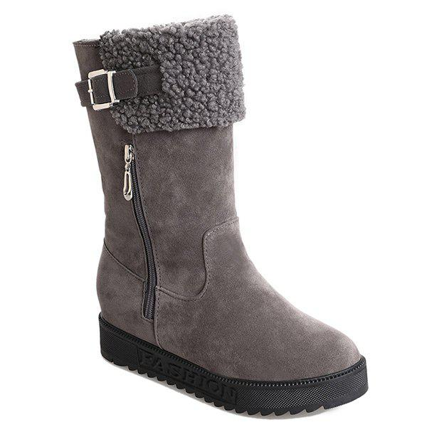 Low Heel Buckle Strap Mid Calf Boots - GRAY 39