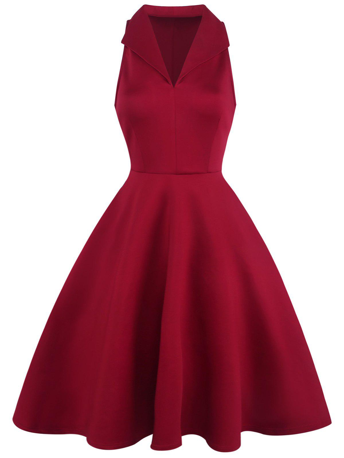 Sleeveless Lapel Vintage Dress - RED 2XL