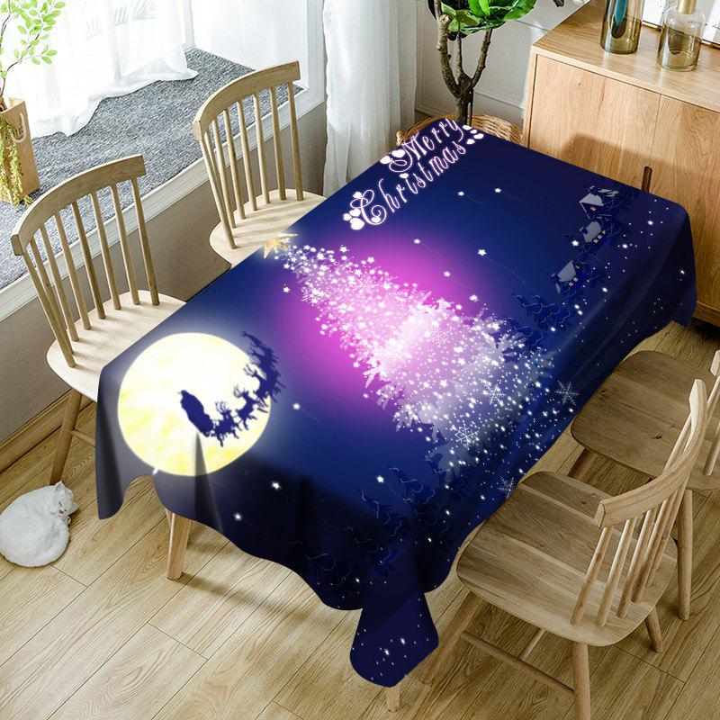 Moon Sled Sparkling Christmas Tree Print Waterproof Table Cloth - BLUE W54 INCH * L54 INCH