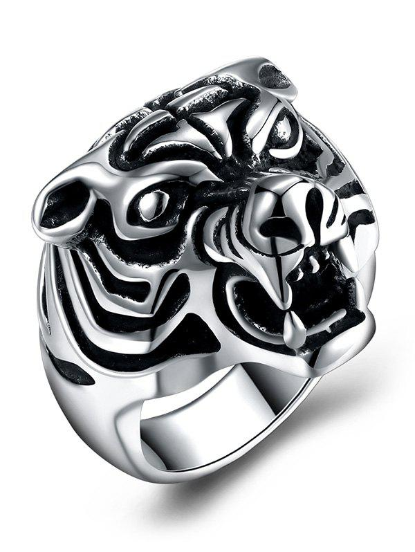 Tiger Carved Decorated Gothic Style Titanium Steel Ring - BLACK 9