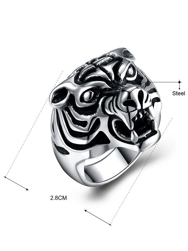 Tiger Carved Decorated Gothic Style Titanium Steel Ring - BLACK 8