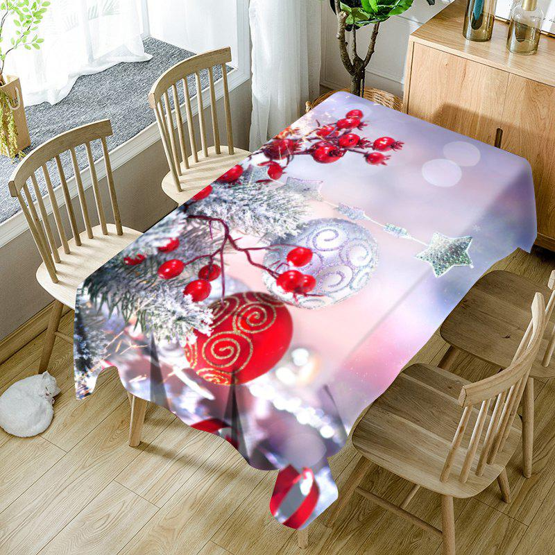 Christmas Balls Ornaments Pattern Waterproof Table Cloth - COLORMIX W54 INCH * L54 INCH