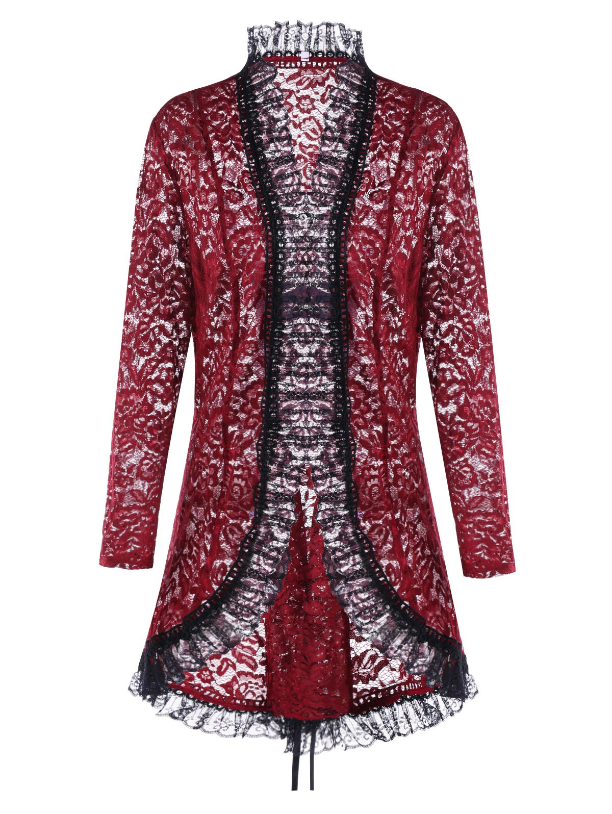 Lace Up Plus Size Gothic Lace Cardigan - WINE RED 5XL