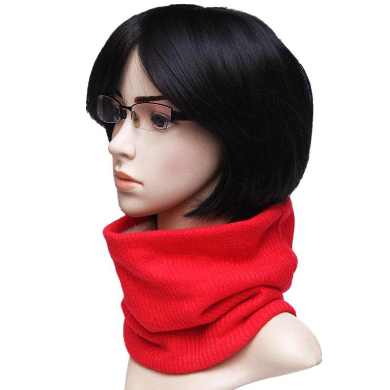Striped Pattern Thicken Velvet Knitted Infinity Loop Scarf - BRIGHT RED