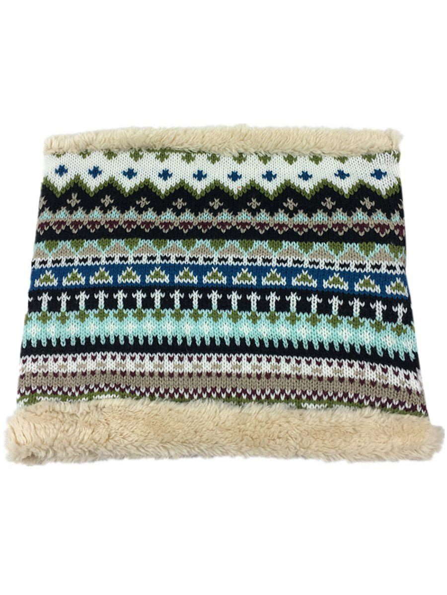 Ethnic Style Thicken Velvet Knitted Eternity Scarf - STONE BLUE