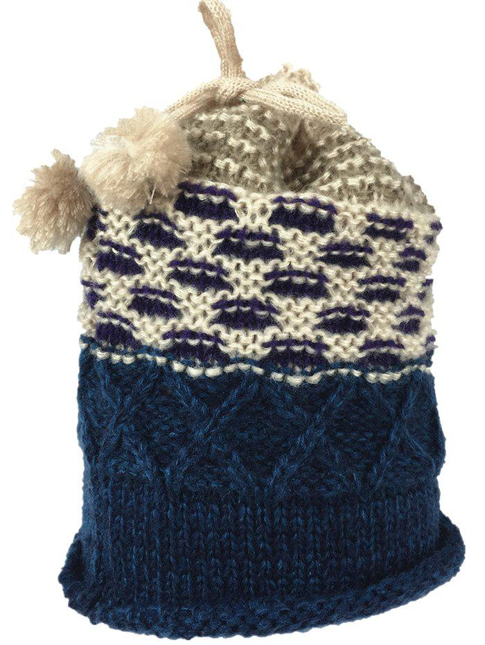 Outdoor Colormix Pattern Crochet Knitted Eternity Scarf - WHITE BLUE