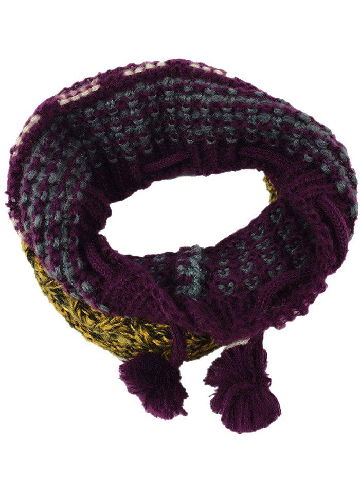 Outdoor Colormix Pattern Crochet Knitted Eternity Scarf - RED YELLOW