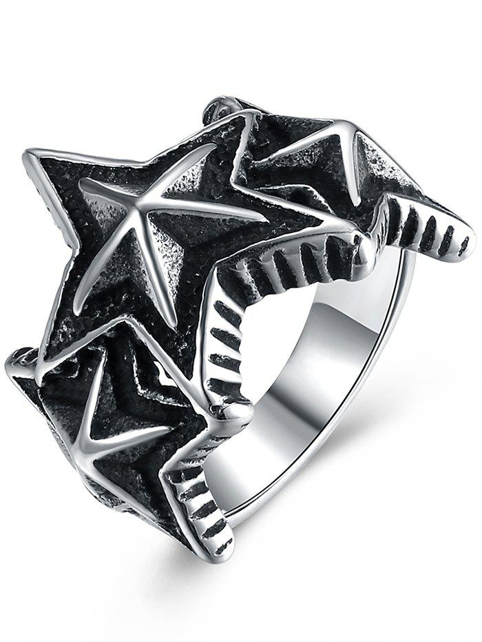 Punk Triple Star Shape Metallic Ring - BLACK 10