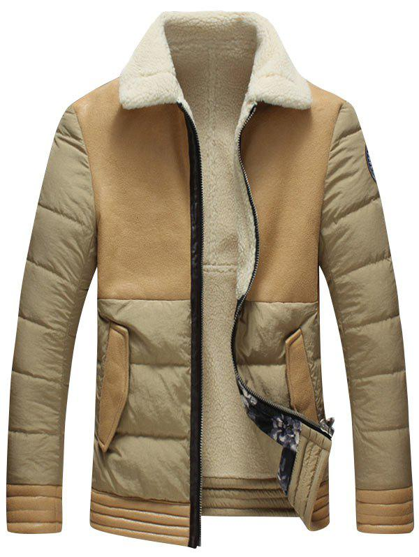 Flap Pocket Faux Leather Insert Shearling Jacket - KHAKI 3XL