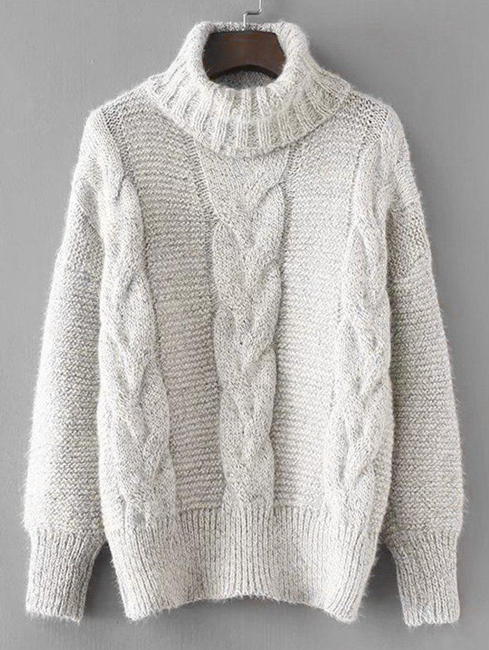 Turtleneck Textured Cable Knit Sweater striped textured knit longline cardigan sweater