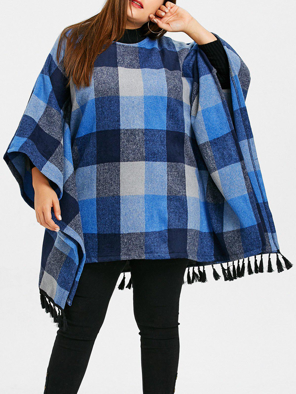 Plus Size Tassel Plaid Batwing Sleeve Coat - BLUE XL