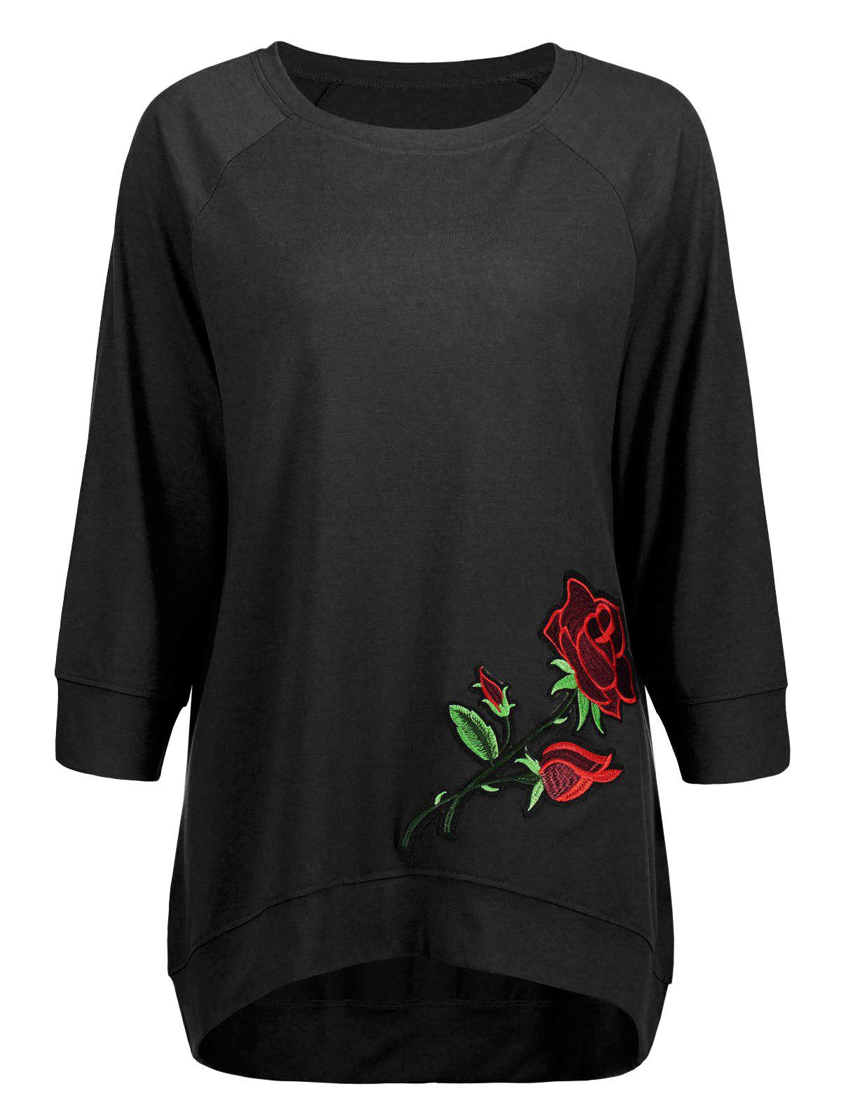 Long High Low Embroidery Sweatshirt - BLACK S