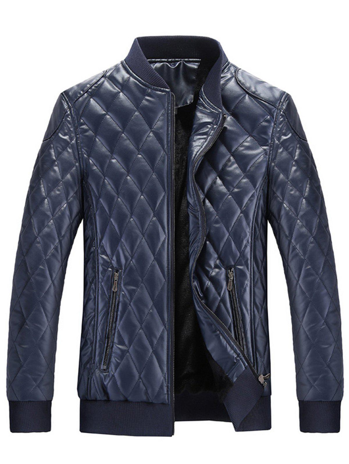 Stand Collar Argyle Artificial Leather Jacket - BLUE M