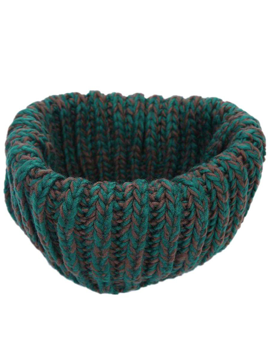 Soft Colormix Pattern Crochet Knitted Infinity Loop Scarf - GREEN