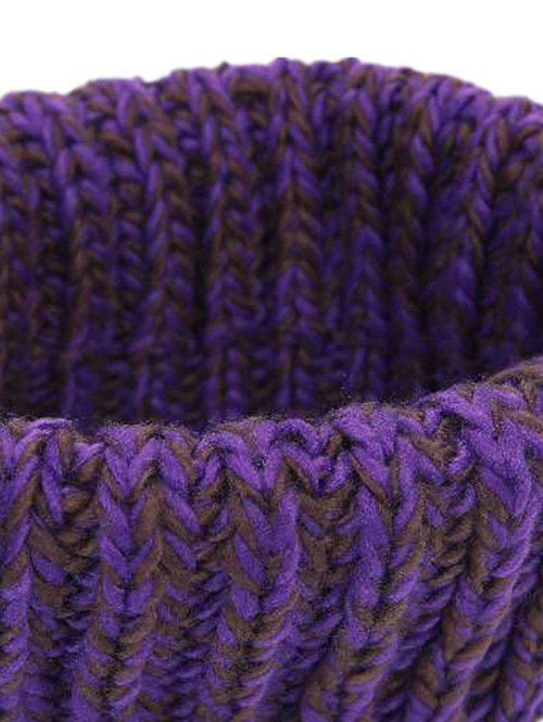Soft Colormix Pattern Crochet Knitted Infinity Loop Scarf - PURPLE