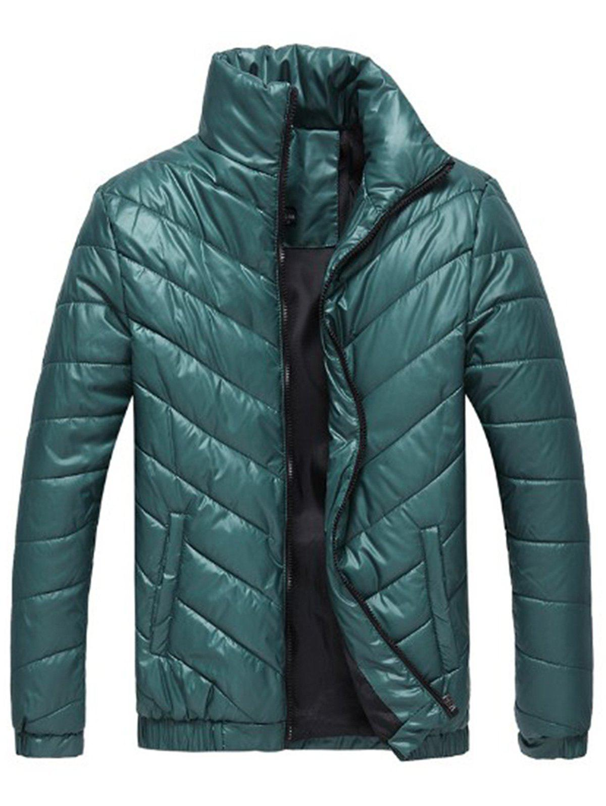 Packable Funnel Neck Down Puffer Jacket - GREEN XL
