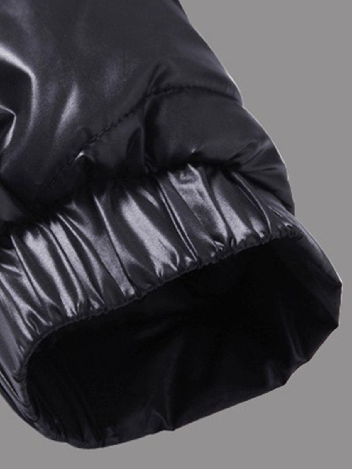 Packable Funnel Neck Down Puffer Jacket - BLACK 5XL