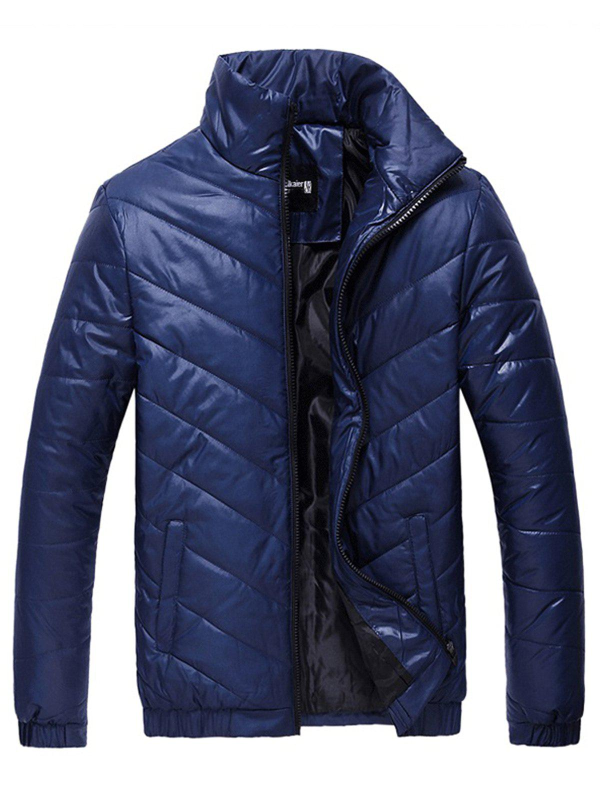 Packable Funnel Neck Down Puffer Jacket - BLUE XL