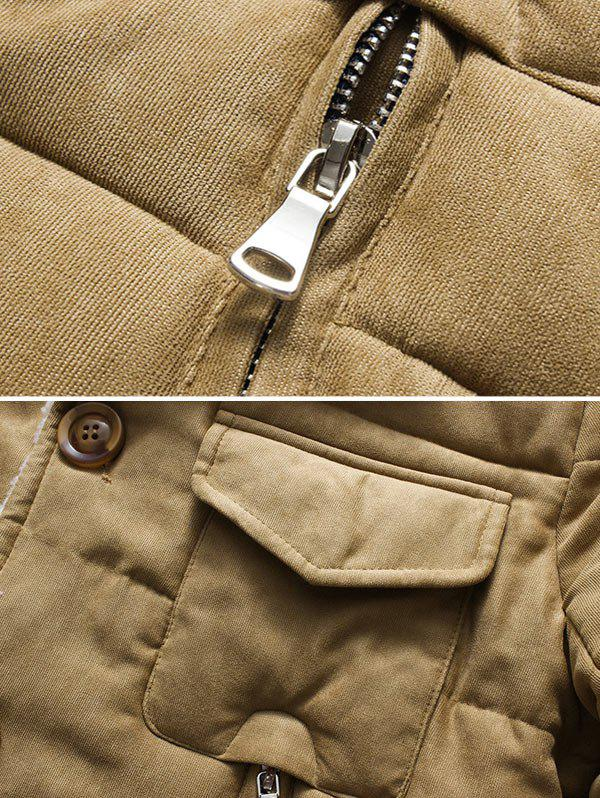 Button Up Chest Pocket Lapel Wadded Jacket - KHAKI 3XL