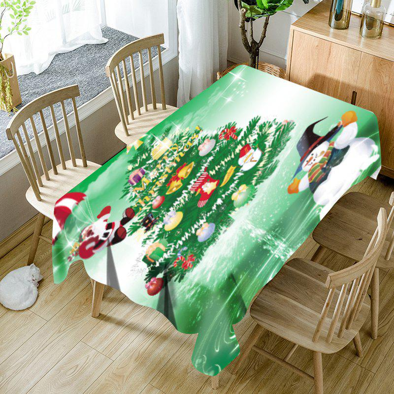 Santa Claus Snowman Christmas Tree Print Waterproof Table Cloth - GREEN W54 INCH * L54 INCH