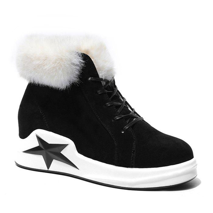Wedge Heel Star Patch Faux Fur Ankle Boots - BLACK 39