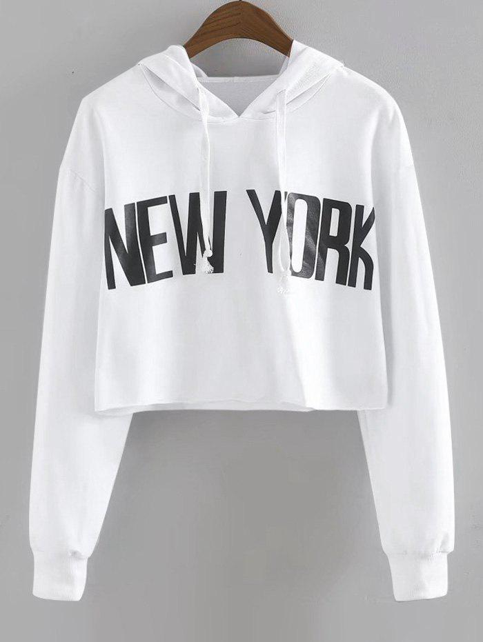 New York Drawstring Cropped Hoodie new york letter cropped sweatshirt