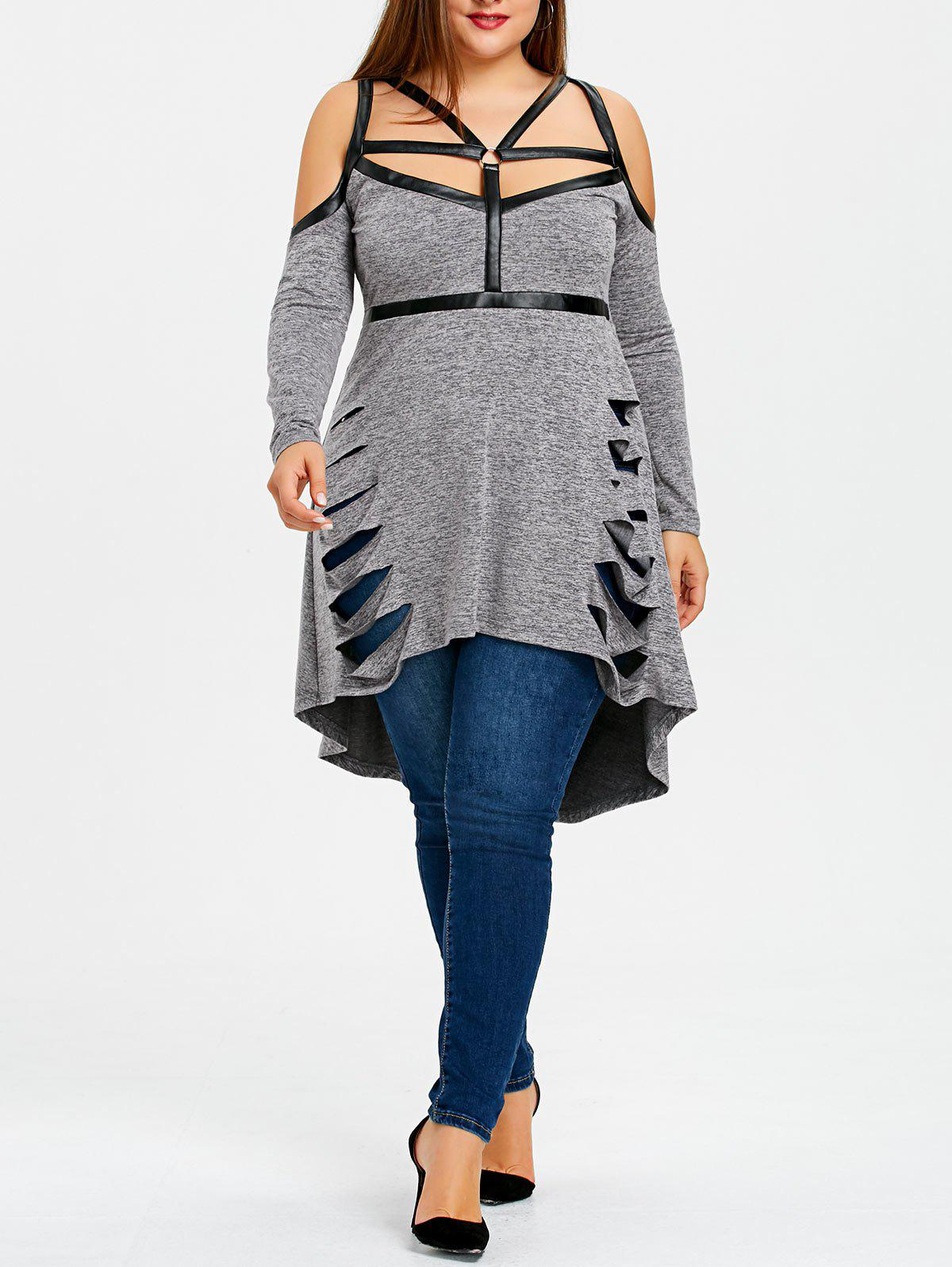 Plus Size Ripped Strappy High Low Long Top - GRAY 5XL