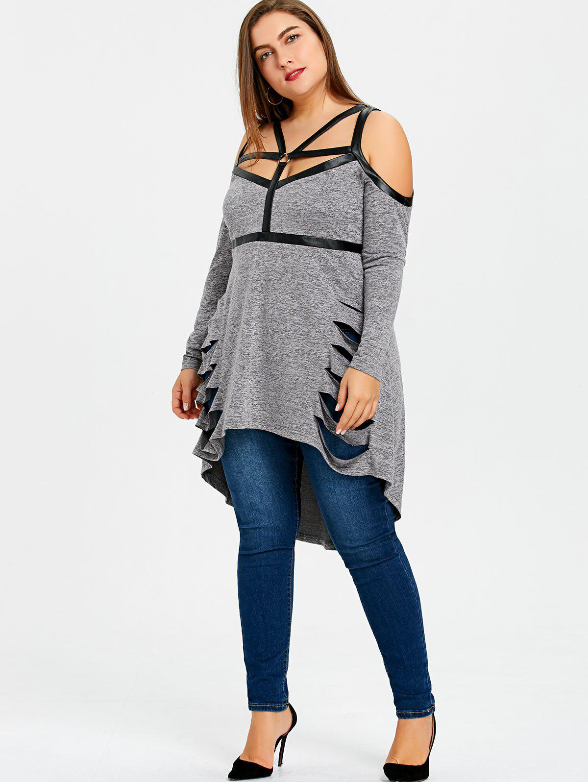 Taille haute Ripped Strappy High Low Long Top - gris 4XL