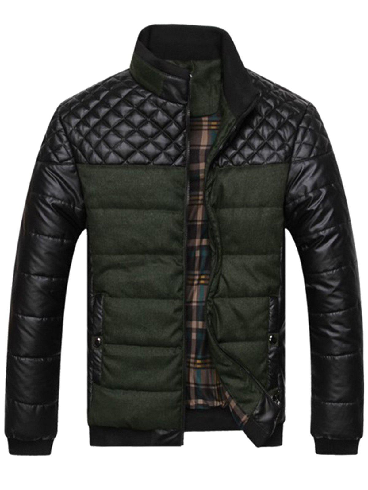 Argyle Color Block Artificial Leather Jacket - ARMY GREEN XL