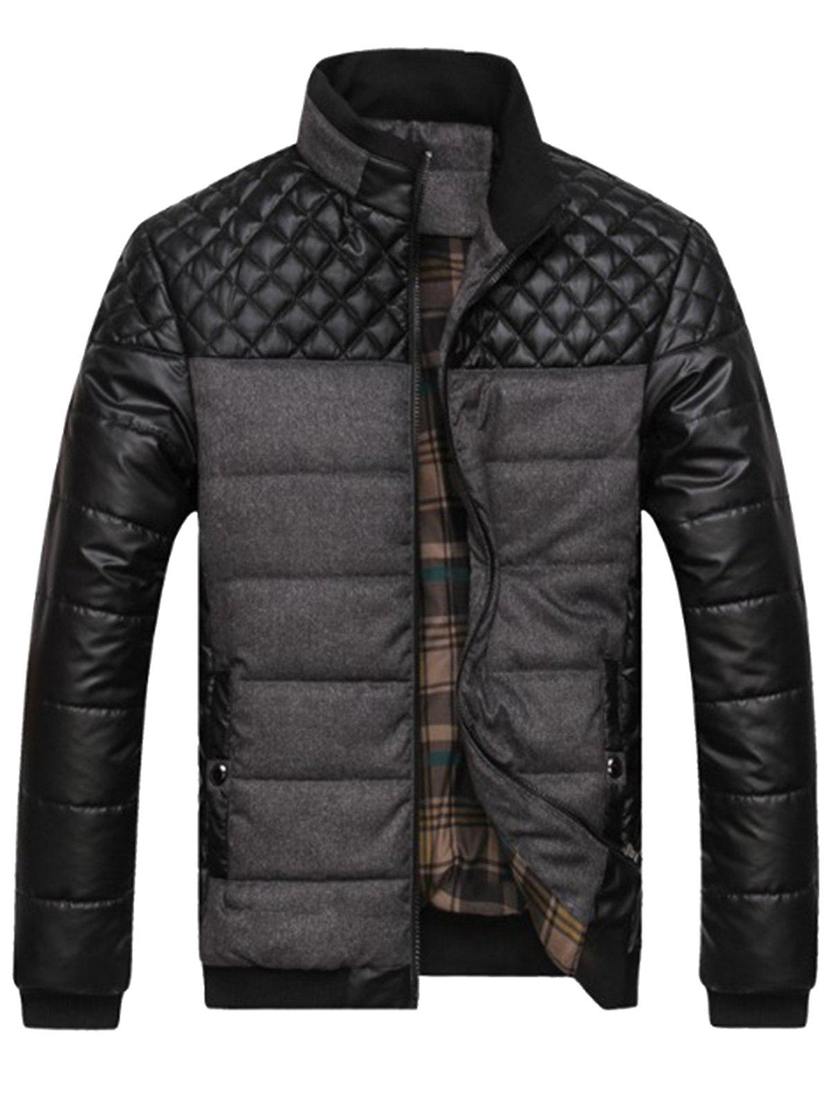 Veste en cuir artificiel Argyle Color Block - Gris XL