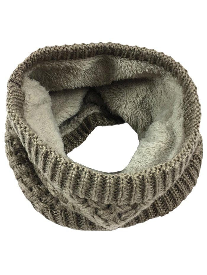 Outdoor Corn Shape Pattern Crochet Knitted Infinity Loop Scarf - KHAKI