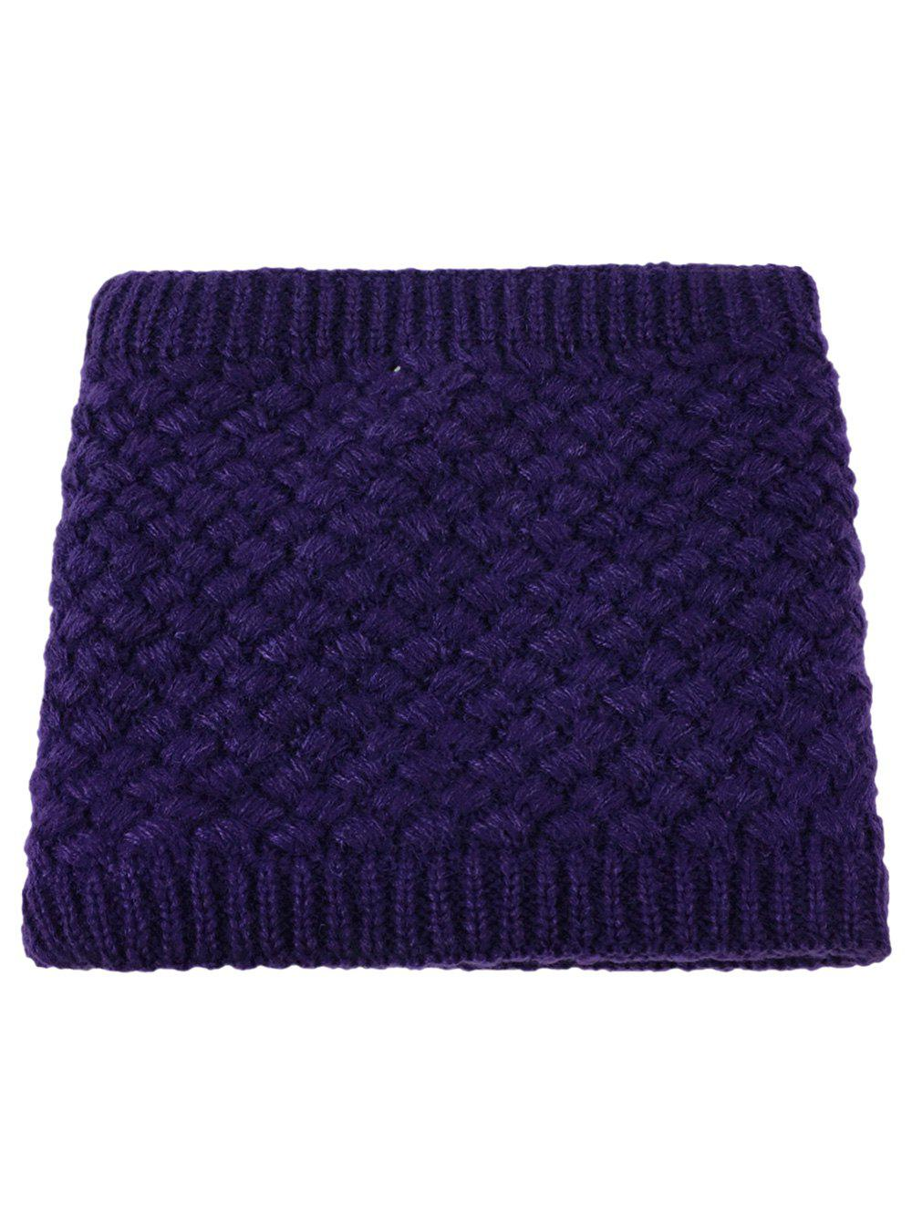 Outdoor Corn Shape Pattern Crochet Knitted Infinity Loop Scarf - DEEP PURPLE