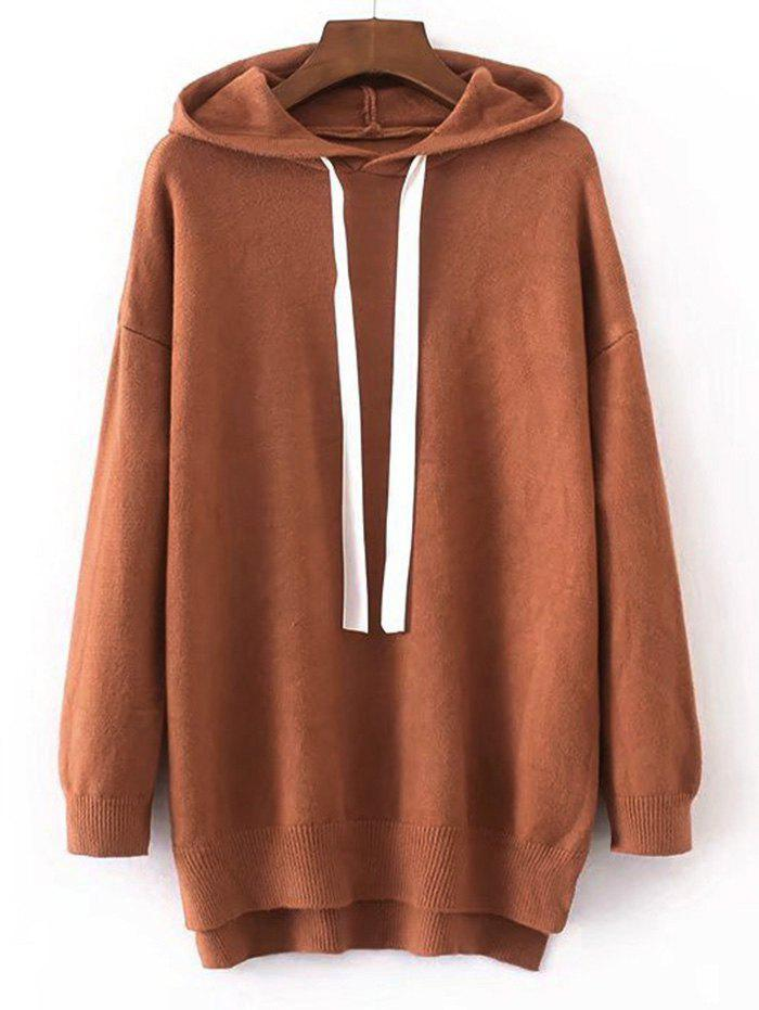 Hooded Contrast Drawstring Sweater - SUGAR HONEY ONE SIZE