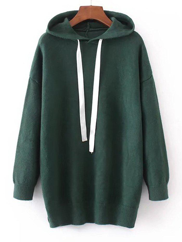 Hooded Contrast Drawstring Sweater - DEEP GREEN ONE SIZE