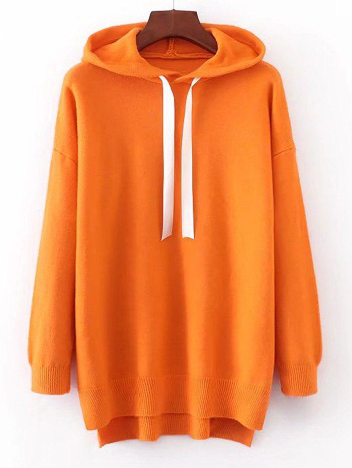 Hooded Contrast Drawstring Sweater - MANDARIN ONE SIZE