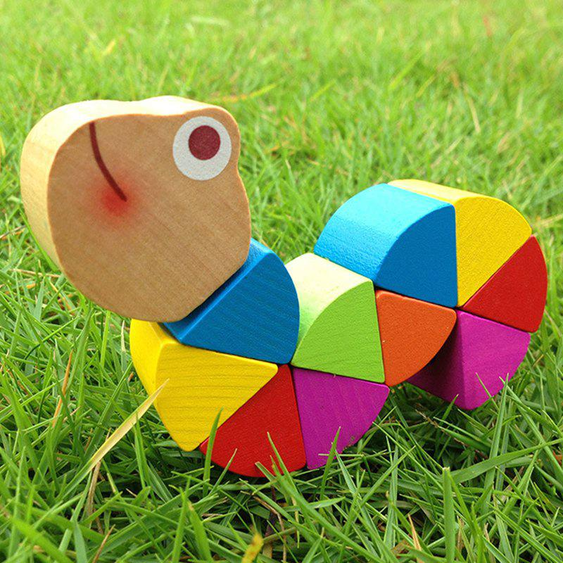 Colorful Changeable Wooden Caterpillars Shape Kids Educational Toy tool kit wooden toy kids diy construction new educational nut disassembling tool wooden toys gift oyuncak