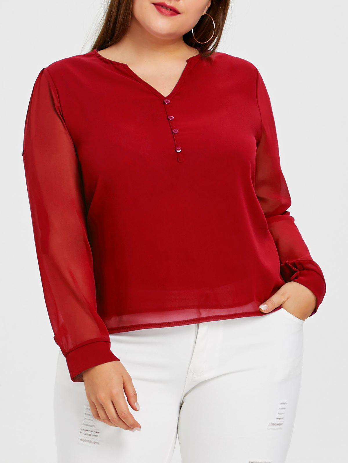 Button Embellished Plus Size Chiffon Blouse - BRIGHT RED 4XL