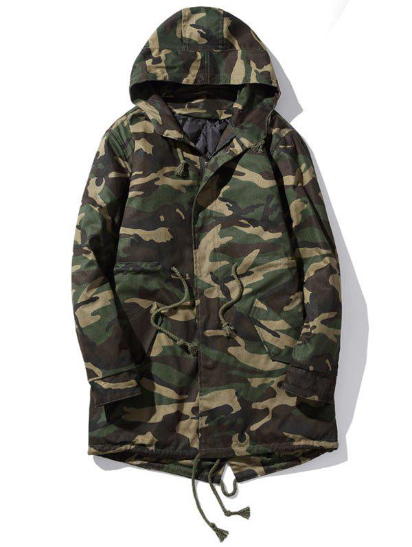 Zip Up Drawstring Hooded Camo Parka Coat - CAMOUFLAGE 2XL