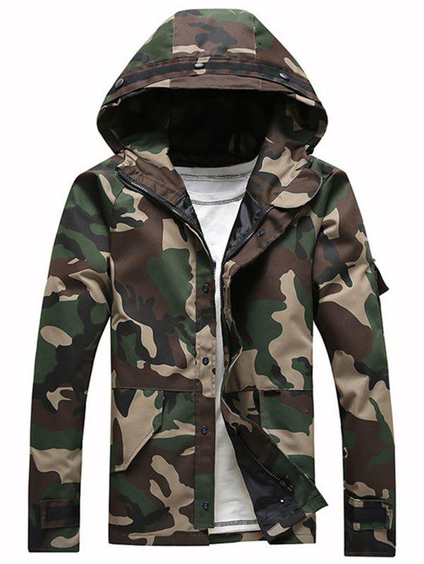 Zipper Up Flap Pocket Hooded Camo Jacket - CAMOUFLAGE S