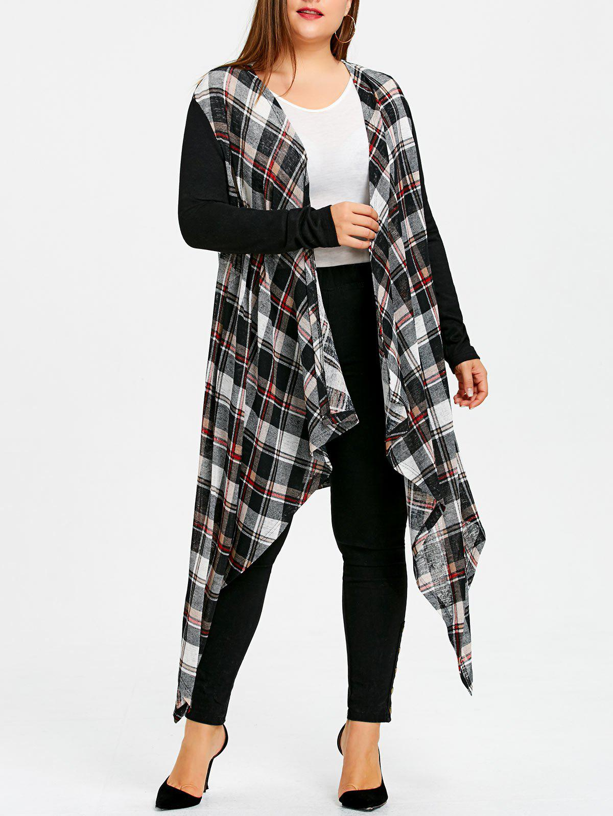 Plus Size Plaid Longline Crescent Hem Coat - COLORMIX 2XL