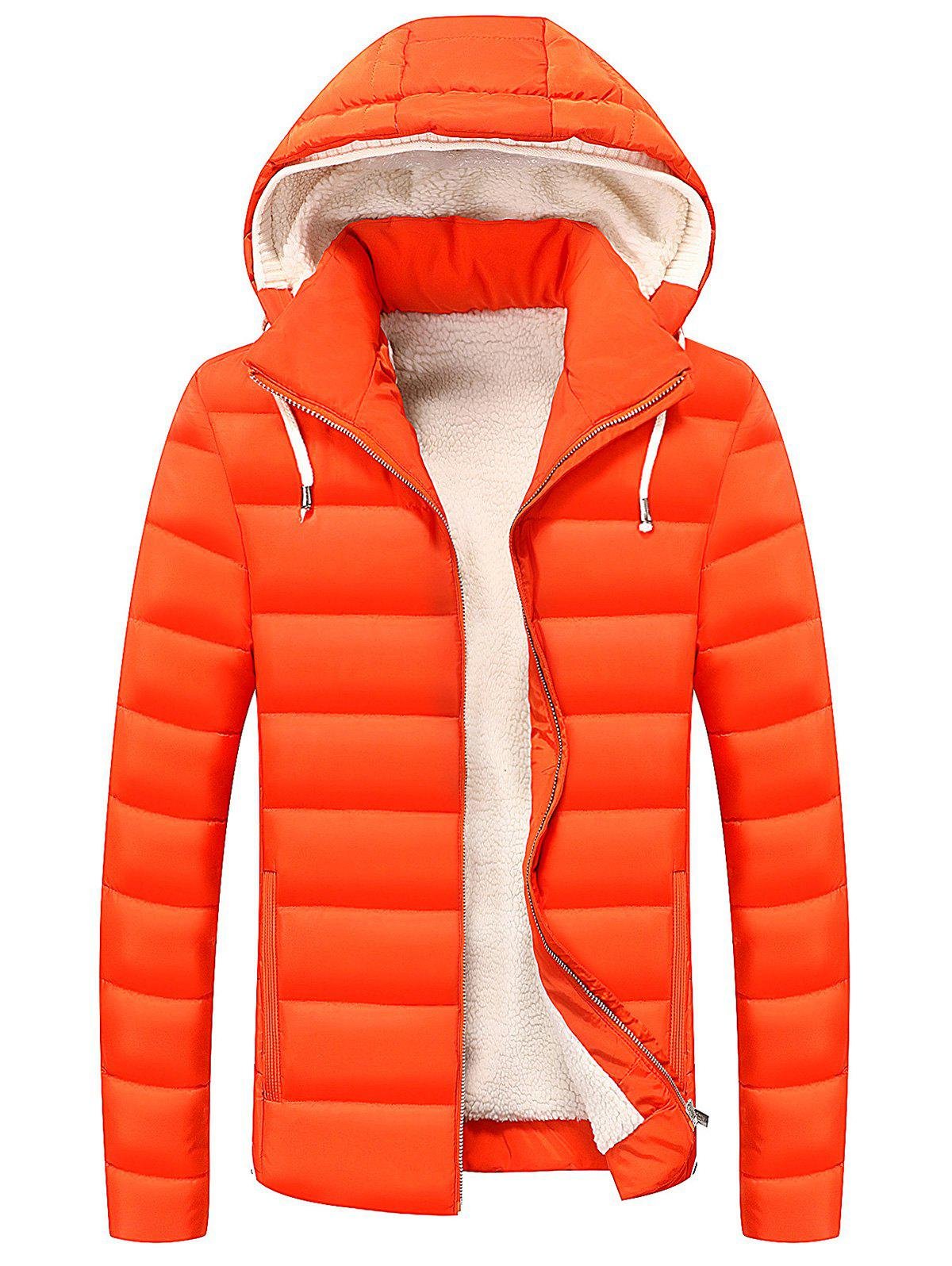 Drawstring Hood Zip Up Puffer Jacket - RED XL